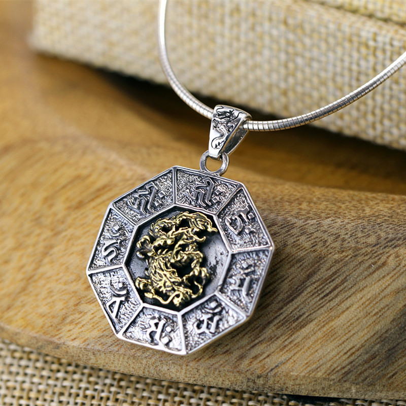 S925 sterling silver jewelry pure handmade folk wind personality six word MANTRA Pendant free of charge s925 pure silver personality female models new beeswax
