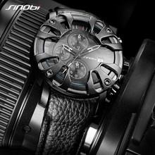 SINOBI Luxury brand Sports Watch Men's Quartz-watch Leather Straps Top Clock Male Relogio masculino Designer Wristwatch Black