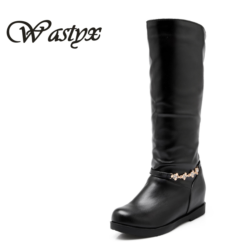 The new PU round toe knee high boots Fashion  height increasing autumn winter women boot metal decoration low heel woman shoes enmayla winter autumn round toe low heel knee high boots women flats lace up shoes woman rider brown black suede motorcycle boot