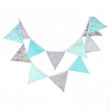 12 Flags 3.2m Blue Dot Silver Flowers Cotton Fabric Bunting Pennant Banner Garland Baby Shower/Outdoor DIY Home Decoration