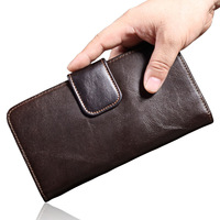 MISFITS 100% Genuine Leather Men Long Wallet High Quality Cowhide Brand Wallets Fashion Clutch Coin Purse For Male Card Holder