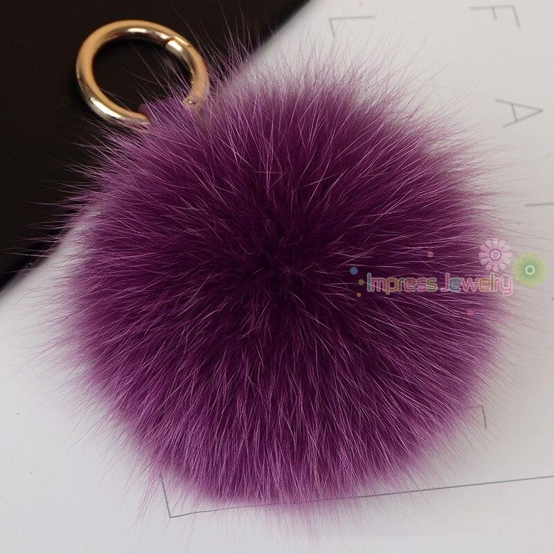 10cm Large Real Fluffy Leather Pompom Fox Fur Ball Fur Pom Pom Keychain Fpr Keys Fur Car Key Chain Women Bag Charm Accessories