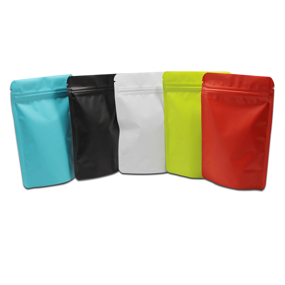 100Pcs Multicolor Matte Stand Up Pure Aluminum Foil Ziplock Packaging Bag Self Seal Mylar Zip Lock Packing Pouch for Tea Food
