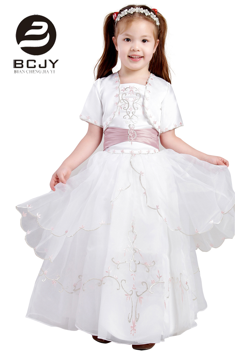 2019 New Arrival White   Dress     Flower     Girl     Dresses   for Weddings Elegant Gown Tiered Embroide   Girls   Princess   Dress   with Jacket