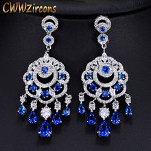 CWWZircons 2018 New Arrival CZ Royal Blue Long Drop Statement Tassel Earrings Luxury Vintage Ethnic Women Party Jewelry CZ011(China)