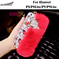 Handmade  Rex Rabbit Fur Back Cases Furry Plush Diamond Crystal Bling Covers Bag For Huawei P8/P8 Lite/P9/ P9 Lite Case