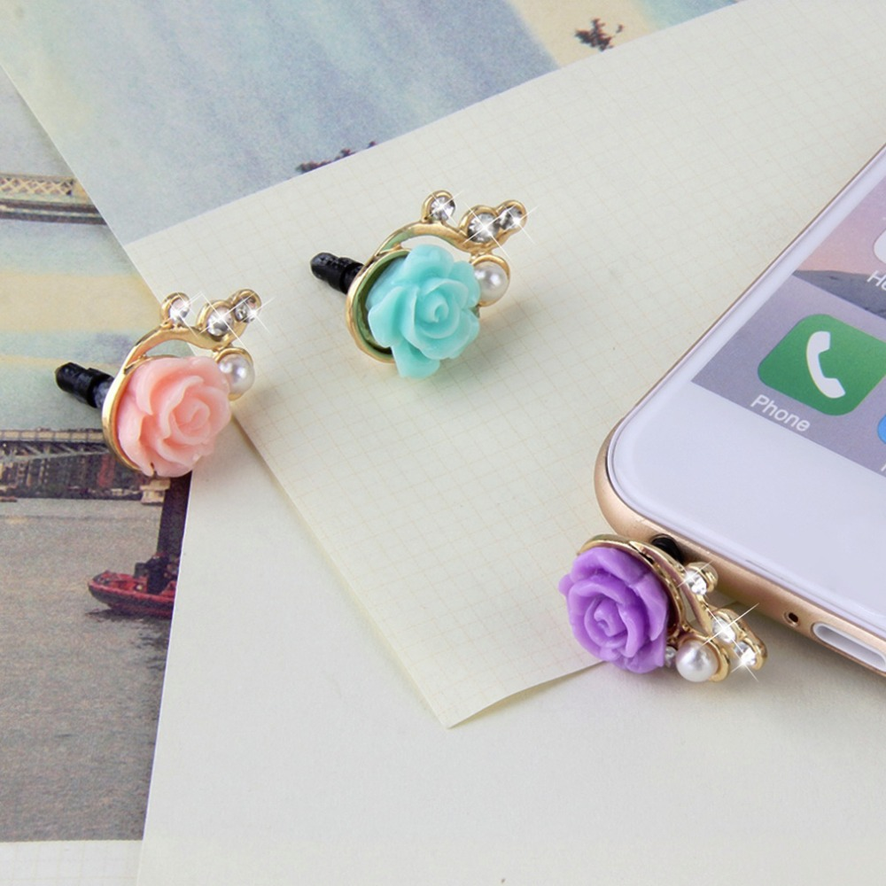 2016 Romantic Pearl Roses Dustproof Plug Mobile Phone Dust Plug Sweet Girls Phone Pendants Promotion