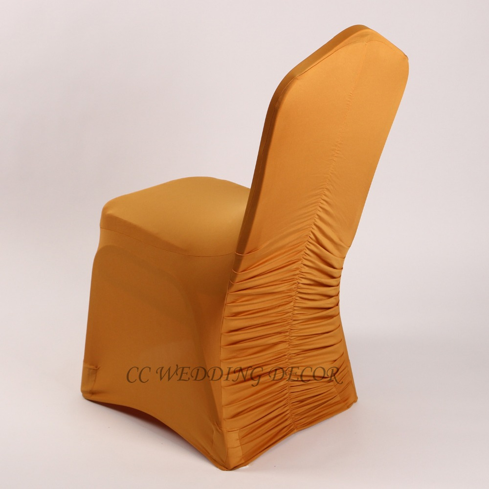 fancy chair covers folding shower with back and arms shipping free 50 pcs good quality gold ruffle spandex cover for wedding event party in from home garden on