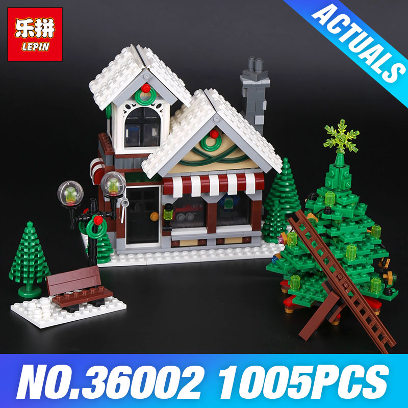 Lepin 36002 The Winter Toy Shop Set Genuine 1005Pcs Creative Series Building Blocks Bricks Educational Toys Model As Gifts 10249 lepin 36002 1005pcs street view series winter toy store christmas model building blocks set bricks toys for children gift 10249
