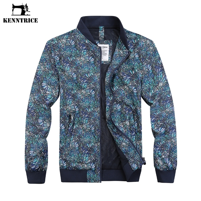 pretty nice 561ab a64d0 US $20.39 49% OFF|KENNTRICE männer Windjacken Mantel Geometrische  Blumendruck Dünne Mantel männer jacke Quick Dry Grund Jacken Mäntel Outwear  HYC077 ...