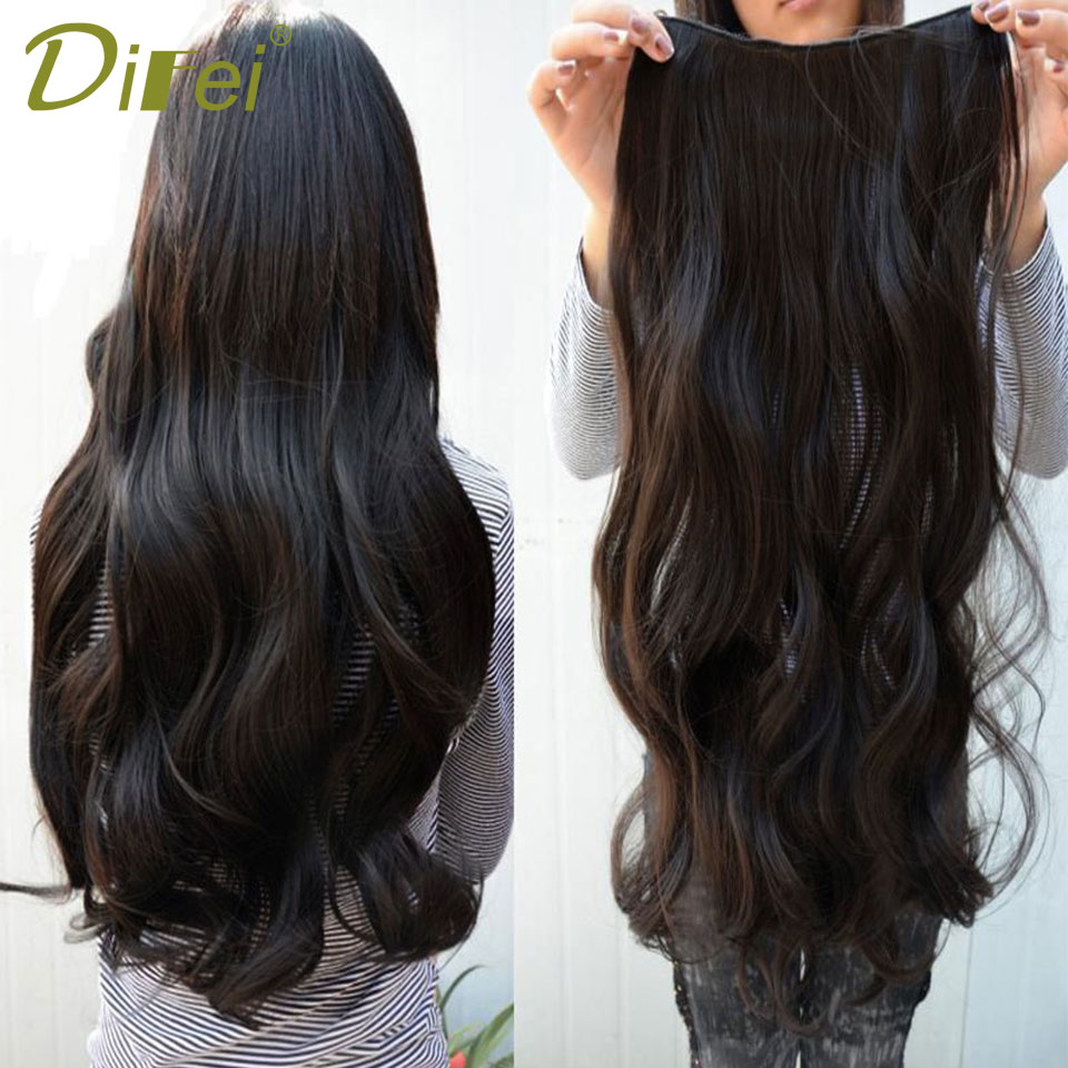 DIFEI 20 24 28 32 38 Inch 60cm Long Straight Women Clip in Hair Extensions Black Brown High Tempreture Synthetic Hair Piece