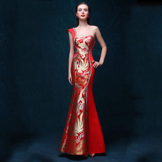 One Shoulder Dress Evening Gowns Red Qipao Cheongsam Traditional Chinese  Dress Robe Chinoise Modern Women Oriental 3ffd08fa23bf