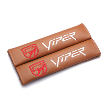 Modification For VIPER edition emblem brown leather seat belt cover shoulder pad Car accessories for Chrysler Cadillac ford