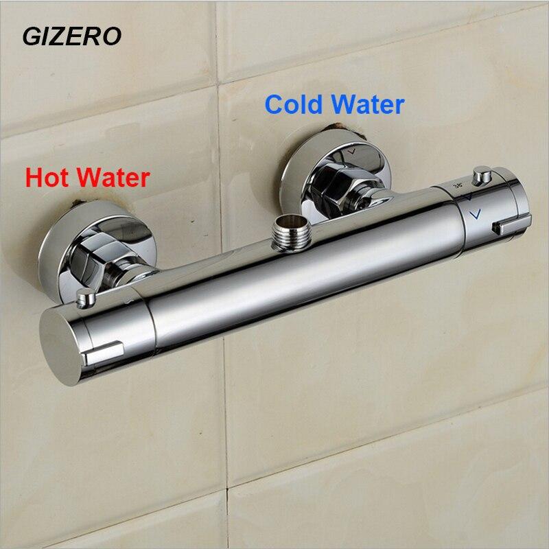 Thermostatique robinet de douche mitigeur mural en laiton chromé poli salle de bains douche ensemble thermostaat kraan douche ZR958