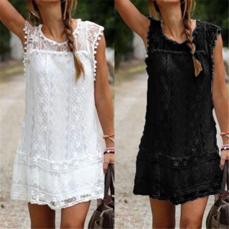 Aliexpress.com   Buy quality Summer Dress 2018 Women Casual Beach Short  Dress Tassel Black White Mini Lace Dress Sexy Party Dresses Vestidos S XXL  from ... df4ce8ed4066