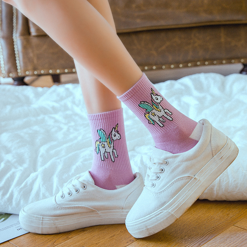 New Kawaii Harajuku Style Unicorn Women's Socks Cartoon Animals Ins Pop Funny Socks Purple And Pink Art Happy Crew Girls Socks