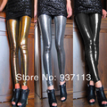 Hot Sale New Arrival Women Sexy Shiny Metallic Leggings Pants Faux Leather Stretchy Leggings Punk Stylish Nightclub Pants