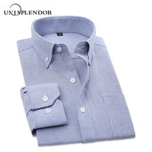 2019 Men's Cotton Striped Man Dress Shirt With Left Chest Pocket Button-down Office Men Casual Fit Work Male's Clothing YN10386