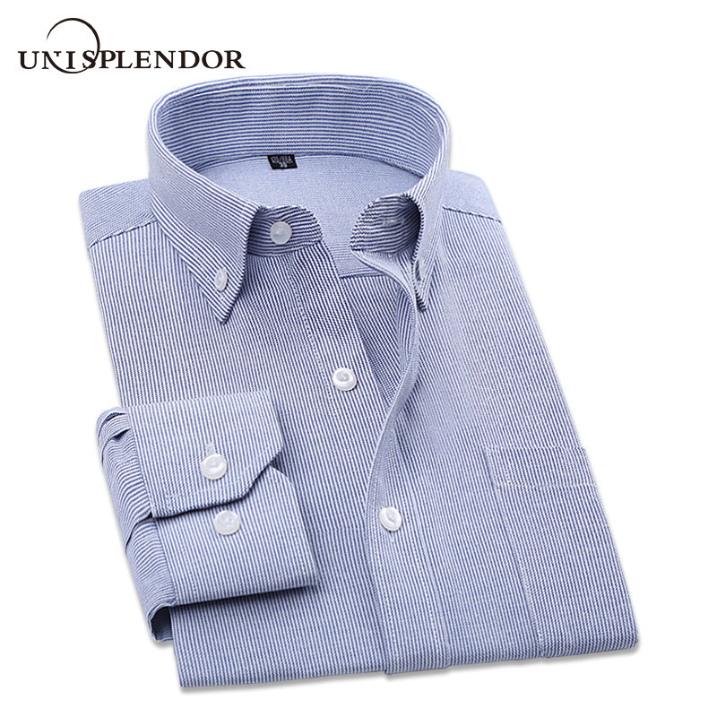 2020 Men's Cotton Striped Man Dress Shirt With Left Chest Pocket Button-down Office Men Casual Fit Work Male's Clothing YN10386