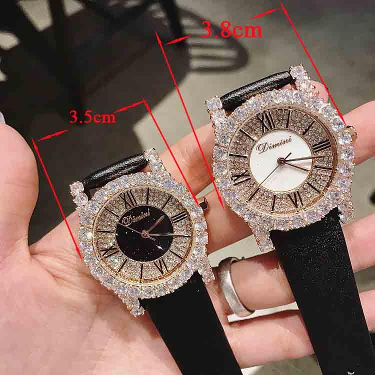 New Fashion Rose Gold Diamond Lady Watch Women New Rhinestone Dress Watches Luxury Leather Strap Women Quartz Watches - 6