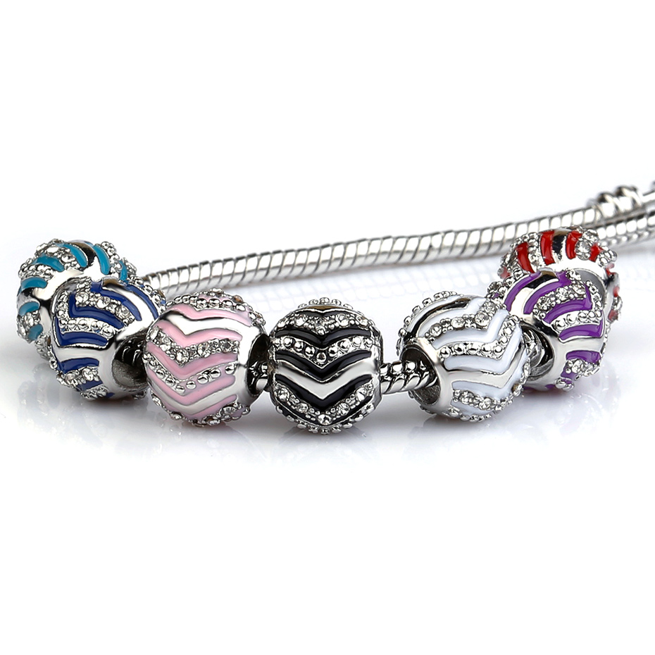 10Pcs a Lot Silver Plated Enamel European Charms Beads Metal Big Hole Beads for jewelry making Rhinestone Fit For Pandora Charms in Beads from Jewelry Accessories