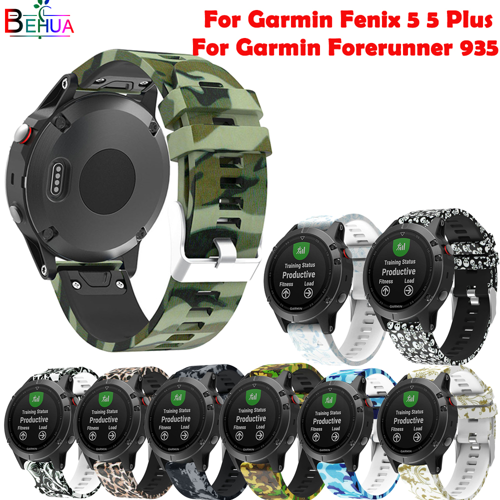 22mm sport Silicone Strap For Garmin Fenix 5 5 Plus Replacement fashion Patterned watch band WristBand For Garmin Forerunn 935
