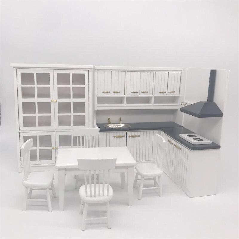 1:12 mini poupée Maison Cuisine table de salle à manger et Une Chaise Ensemble Miniature Modèle Décoration Alimentaire Jouer Ustensiles Tir Props
