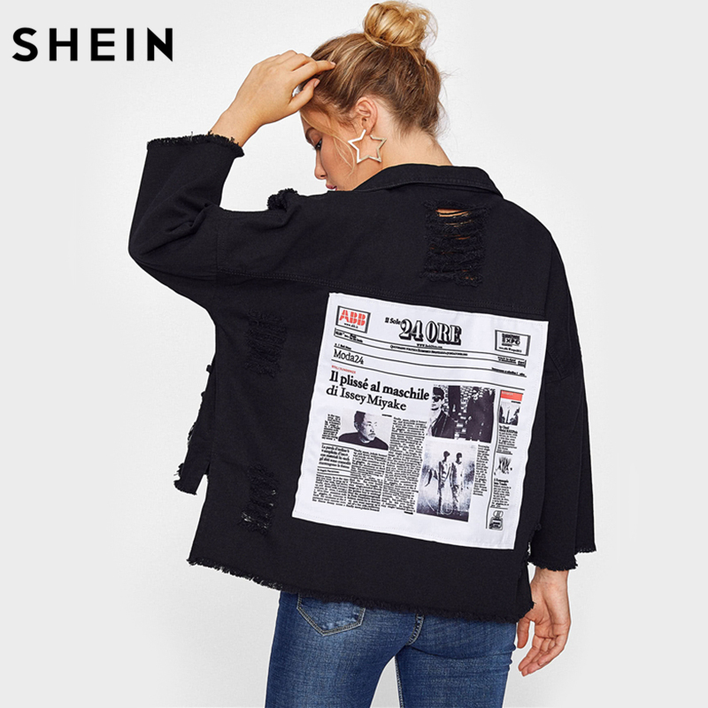 SHEIN Drop Shoulder Patch Back Distressed Jacket Casual Autumn Jacket Coat Women Black Lapel Single Breasted Jackets ...
