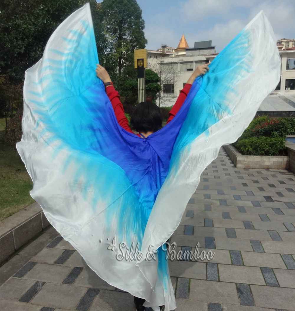 1 PIECE 2.7m*1.1m white-turquoise-blue real silk half circle belly dance veil