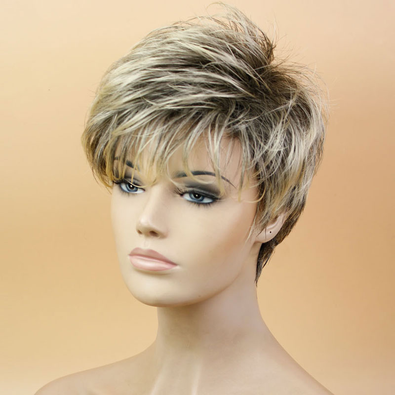 Synthetic Full Wig For Women Blonde Wig Dark Roots Heat