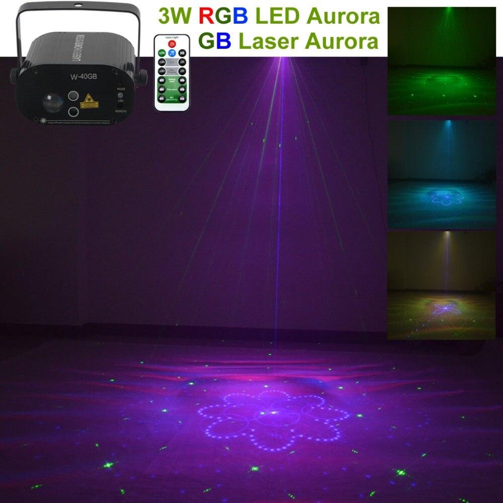 Mini Remote 40GB Pattern Auto Laser Light Water Galaxy 3W RGB LED Projector Lamp Aurora Effect Party DJ Show KTV Stage Lighting
