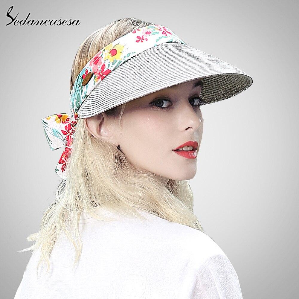 2c715709 Sedancasesa sun visor hat female summer sun hats for women beach hat  holiday face protect cap girl straw Hat fashion SL00020