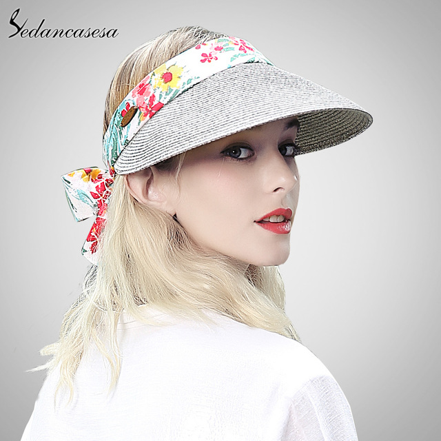 06530649 Sedancasesa sun visor hat female summer sun hats for women beach hat  holiday face protect cap girl straw Hat fashion SL00020