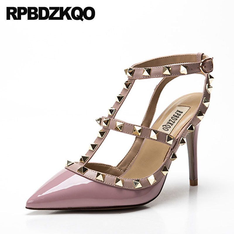 Rivet Slingback Pointed Toe High Heels Stud Plus Size Shoes Red Stiletto Pumps Women 10 42 Purple T Strap Patent Leather Italian women fashion patent pointed toe buckle strap stiletto shoes sexy cross strap red high heels pumps wedding dress shoes plus size