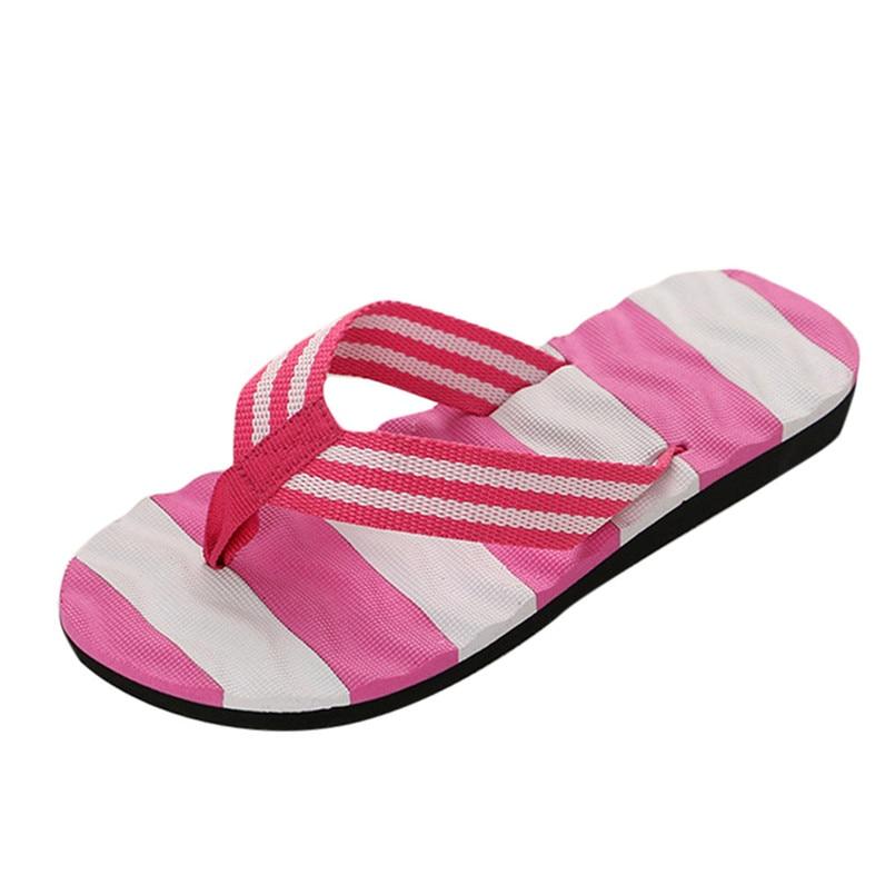 Women Summer Stripe Flat Sandals Slipper
