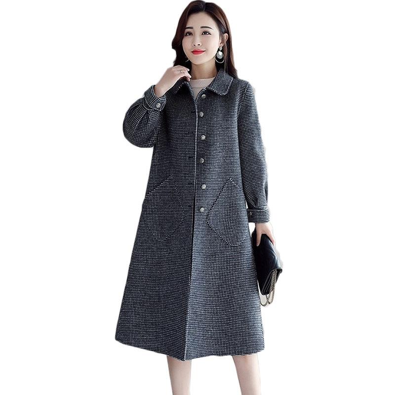 Novas Mulheres casaco de Lã Longo Inverno Coreano Temperamento Single breasted casaco de Lã das Mulheres Moda Malha Rosa Maré Sobretudo 1068 - 6