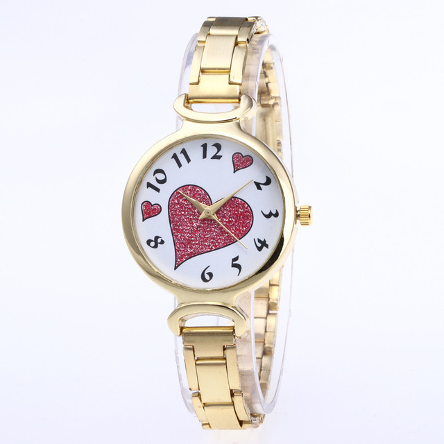 Fashion Three-Colored Heart Shaped Dial Quartz Wristwatch