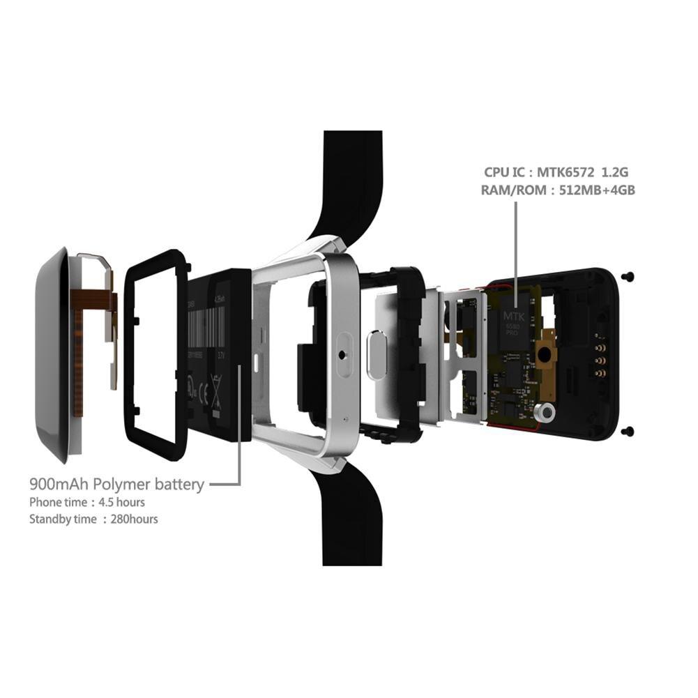 Смарт часы 2,2 дюймов Android OS 3g Smartwatch MTK6572 двухъядерный 1,2 ГГц 512 Мб ОЗУ 4 Гб ПЗУ камера WCDMA gps R20 - 3