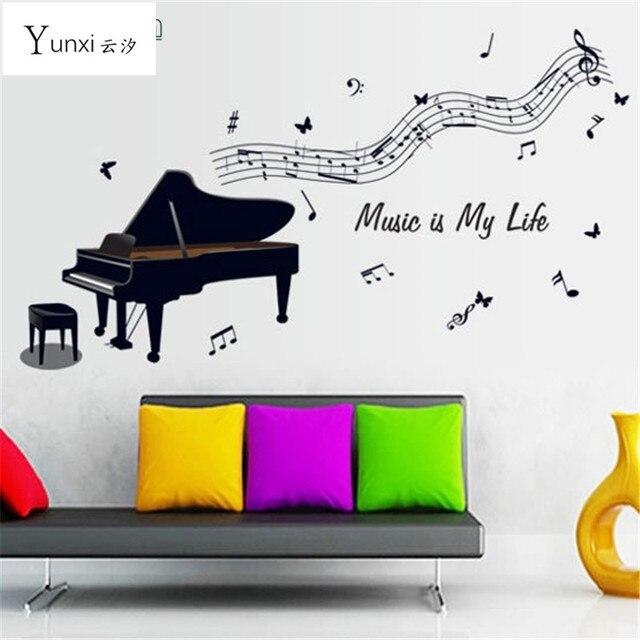 YunXi Zwarte Piano Notes Stickers Kinderen Slaapkamer Achtergrond ...