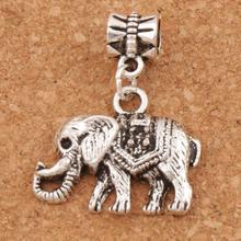 Mammoth Elephant Big Hole Beads 24x30 mm 16pcs Antique Silver Dangle Fit European Charm Bracelets B1187