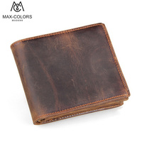 MC Genuine Crazy Horse Cowhide Leather Wallet Men Two Fold Wallets Fashion Purse With Card Holder