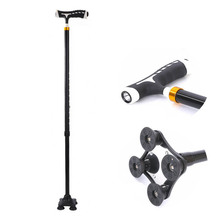 NEW 2018 Outdoor Old man telescopic walking stick old man elderly four foot walking stick cane four feet non-slip trekking old man portable aid step implement aluminum alloy medical instrument crutches help line for the disabled four feet walking sti
