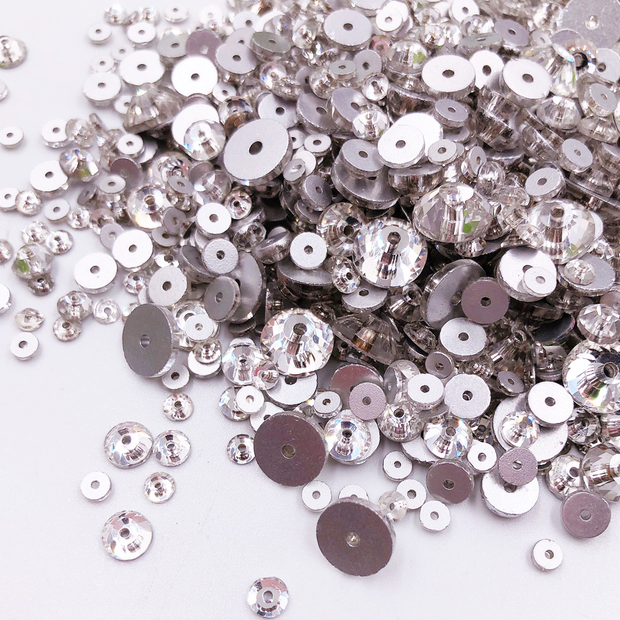 500pcs/Pack Sewing Flatback Rhinestone Clear Crystal Round Glass Beads Sew On Strass Stones DIY For Clothes Decoration