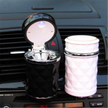 Free shipping 2 Colors Car Ashtray with Card Buckle Portable Cigarette Ashtray Car Ashtrays with Blue LED Light