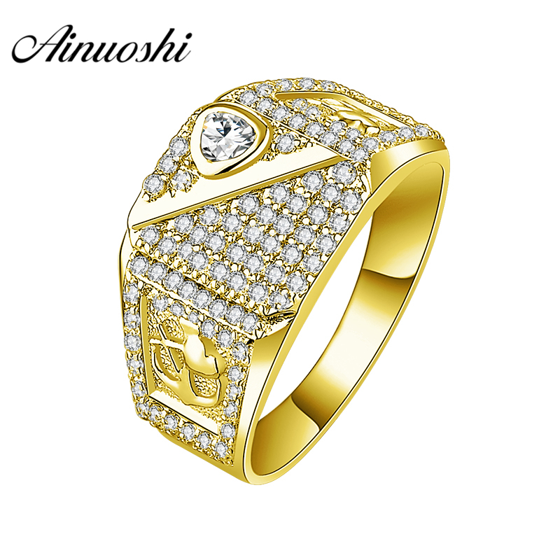 AINUOSHI 10K Solid Yellow Gold Ring 6.2g Wedding Band Delicate Design Male Band Wedding Engagement Gold Ring Jewelry Men Band кольцо s j063 wedding band ring