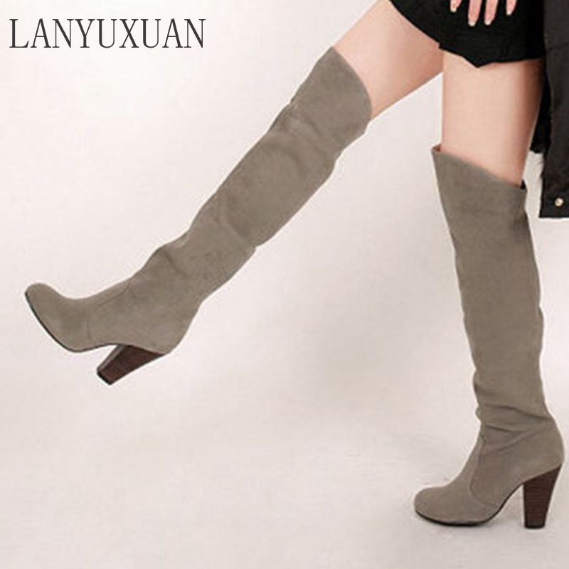 LANYUXUAN 2017 Winter Autumn Boots Big Size 34-43 Over The Knee Boots Women Sexy High Heels Long  Round Toe Platform Knight 818 lanyuxuan big size 33 50 women sexy high heels short boots autumn winter shoes pointed toe platform knight martin boots 2 3