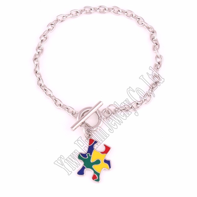 Autism Awareness Jewelry Zinc With Multi Enamel Hope Puzzle Piece Toggle Charm Ot Bracelets Drop