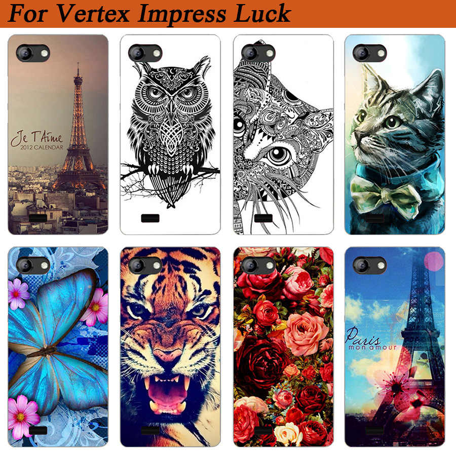 For Vertex Impress Luck Case Cover Pattern Painted Colored Tiger Owl Rose Soft Tpu Case For Vertex impress luck Phone Sheer