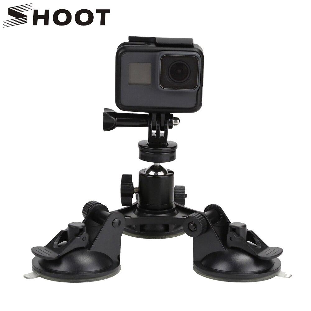TIRER Faible Angle Aller Pro Ventouse avec Trépied À tête Sphérique Sucker pour GoPro Hero 5 4 3 Session SJCAM Xiaomi Yi 4 K h9 Caméra