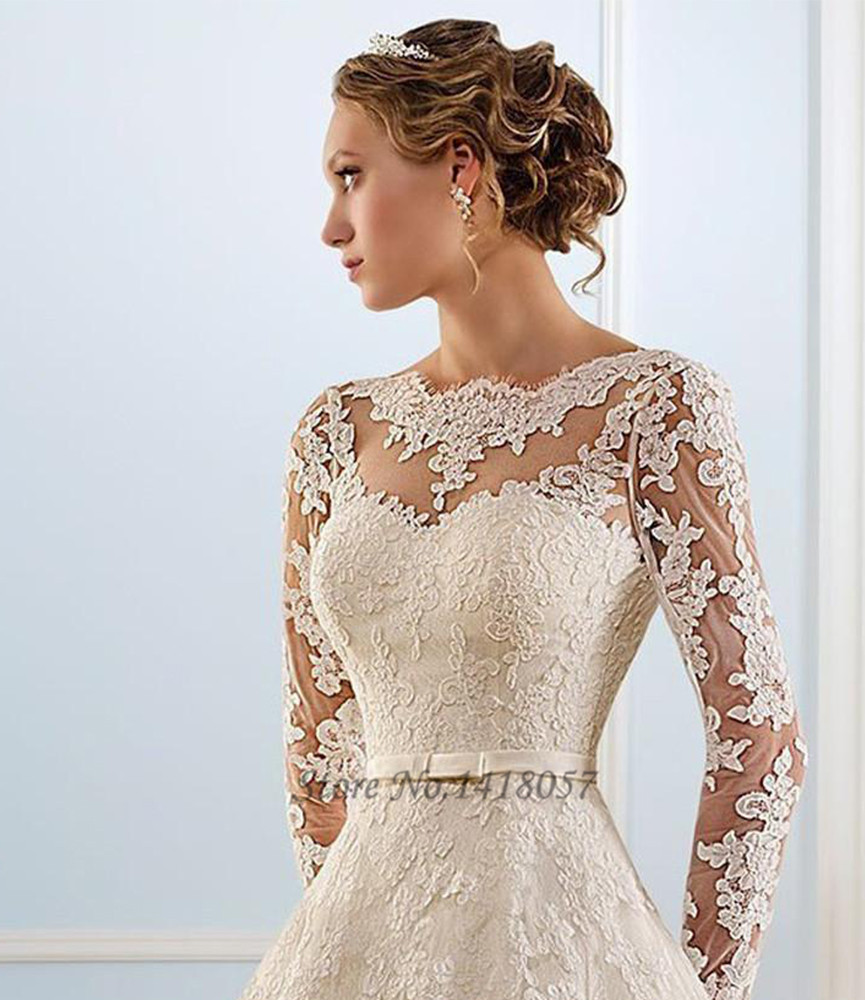 New White Lace Vintage Wedding Dress 2015 Hot Sale Sweetangel Long Sleeve Gowns Princesa Corset Back Vestidos De Noivas In Dresses From